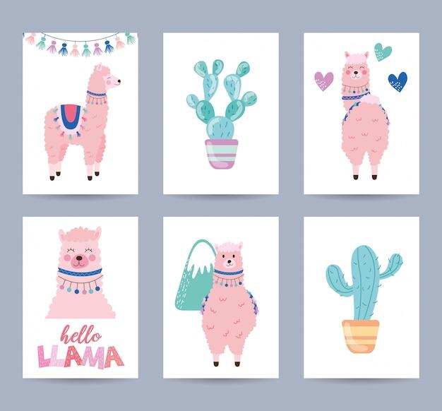 Kartenset mit lama und kaktus