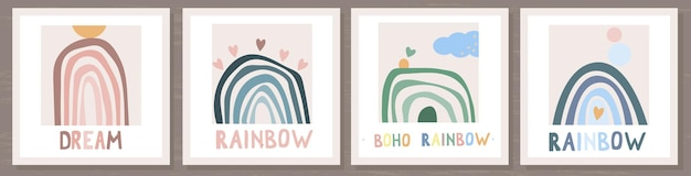 Kartenset mit regenbogen und sonne im boho-stil