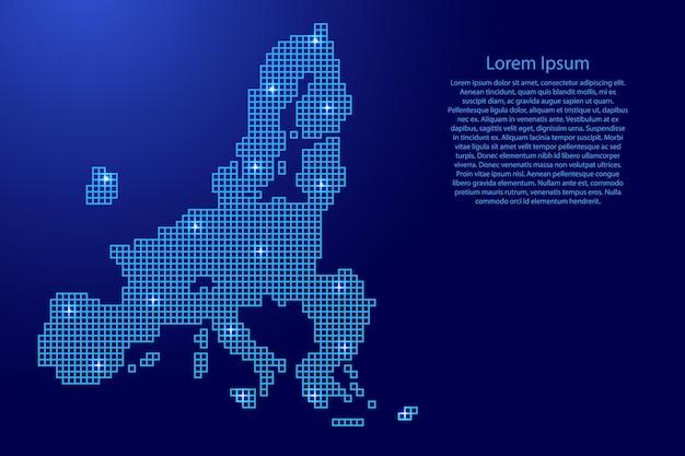 Kartensilhouette der europäischen union aus blauen mosaikstrukturquadraten und leuchtenden sternen. vektor-illustration.