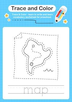 Kartenspur und farbvorschularbeitsblattspur für kinder zum üben der feinmotorik