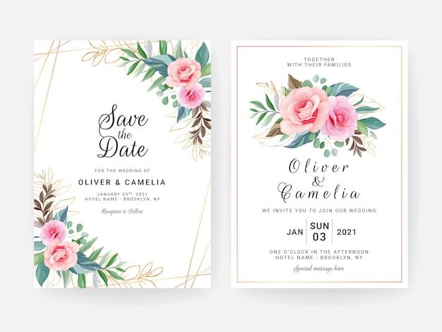 Kartenstapel mit blumendekoration. elegantes hochzeitseinladungs-schablonendesign von rosafarbenen blumen des pfirsiches und von goldblättern