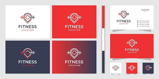 Kartenstift mit langhantel-logo-design und visitenkarte