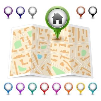 Kartensymbol mit mehrfarbigen pin-zeigern isoliert auf weiß. illustration