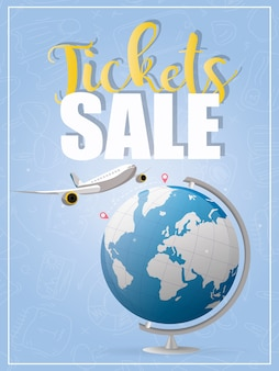 Kartenverkauf. blaues banner. das flugzeug fliegt von punkt a nach punkt b. blauer globus. gut für den verkauf von flugtickets.