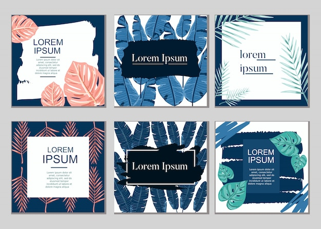 Kartenverkaufsdesign-vektorsammlungssatz des sommers tropischer betriebs