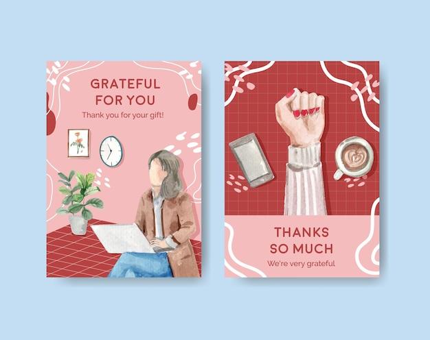 Kartenvorlage mit aquarellillustration des weltwassertag-konzeptentwurfs