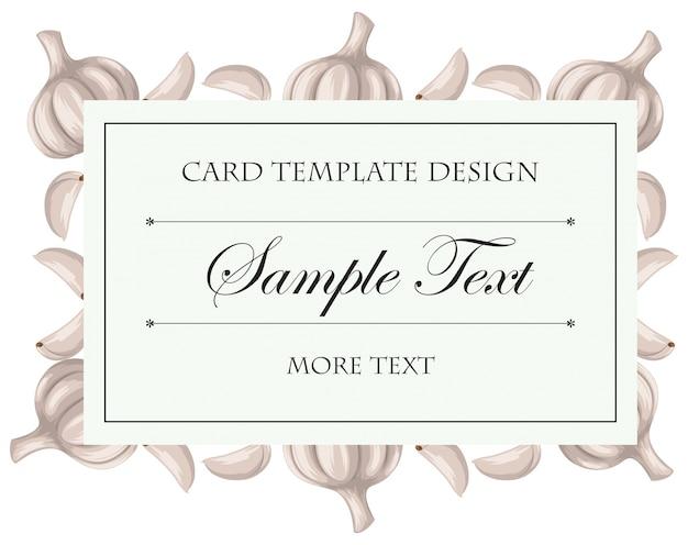 Kartenvorlage mit frischen knoblauch illustration
