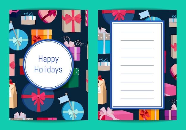 Kartenvorlage mit geschenkboxen in bunten verpackungen mit platz für text