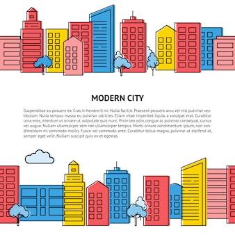 Kartenvorlage mit nahtlosen skyline der stadt