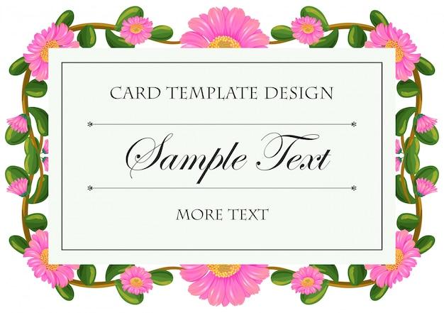 Kartenvorlage mit rosa calendula-rahmen