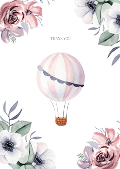 Kartenvorlagen mit blumen und niedlichen ballon