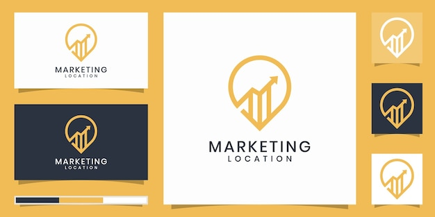 Kartenzeiger mit einem marketingstandortlogodesign