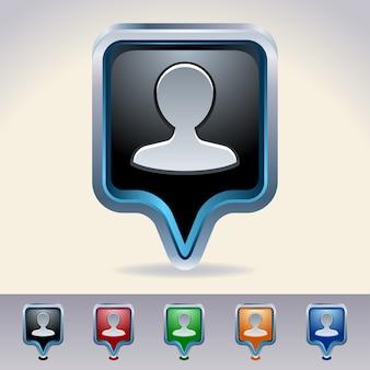 Kartenzeiger. person glänzende web-buttons.