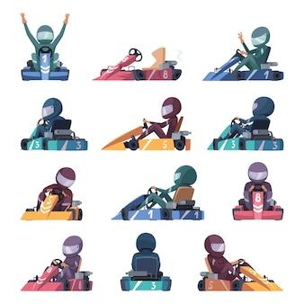 Karting autos. schnelle rennfahrer beschleunigen kartautomaten auf straßenkarikaturillustrationen