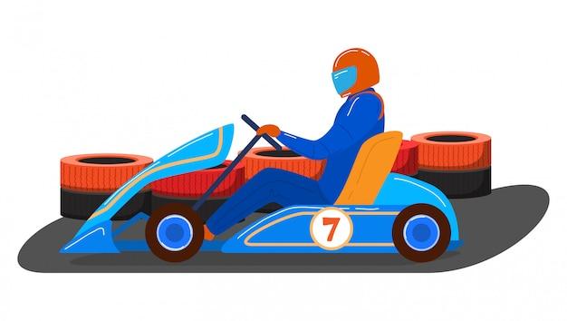 Karting-transportfahrzeug des männlichen charakterfahrers, wettbewerbsrennmaschine lokalisiert auf weißer karikaturillustration.
