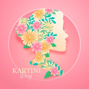 Kartini-tagesillustration im papierstil