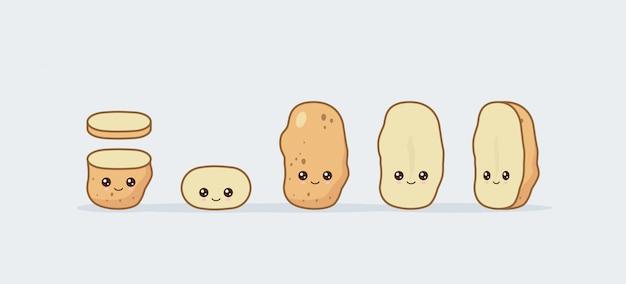 Kartoffel einstellen. nettes kawaii lächelndes essen.