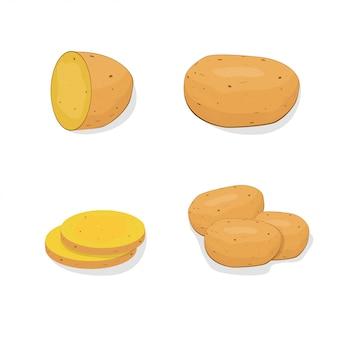 Kartoffel flach. illustration von kartoffeln für suppe. essen und restaurants. für visitenkartenwerbung im stil eines flachen designs.