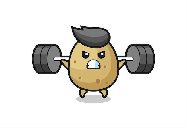 Kartoffel-maskottchen-cartoon mit einer langhantel, süßes design für t-shirt, aufkleber, logo-element