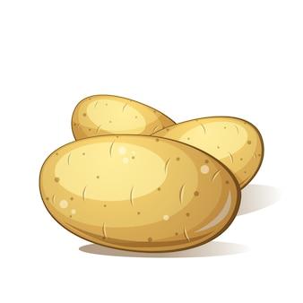 Kartoffel mit drei karikaturen