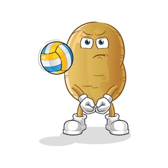 Kartoffel spielen volleyball maskottchen