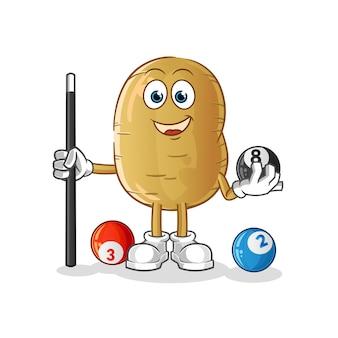 Kartoffel spielt billardcharakter
