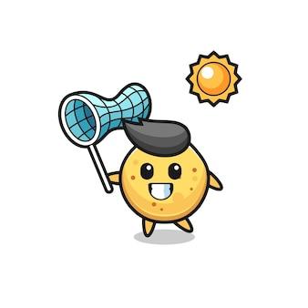 Kartoffelchip-maskottchen-illustration fängt schmetterling, süßes design
