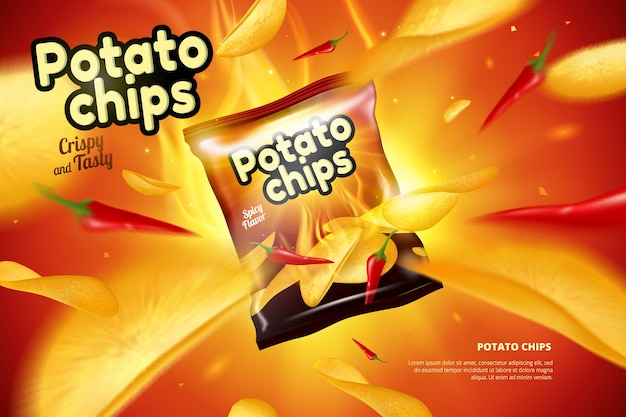 Kartoffelchips beutel anzeige