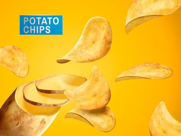 Kartoffelchips, die aus einer kompletten kartoffel geschnitten wurden, können als elemente verwendet werden