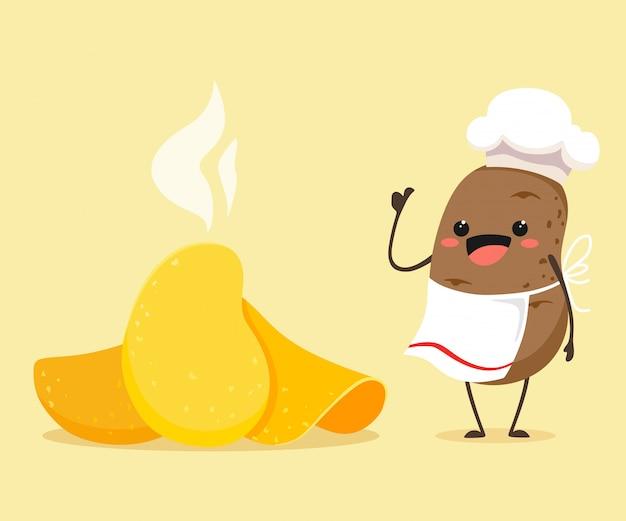 Kartoffelchips mit einer lustigen und cartoon-kartoffel im stil von kawaii. illustration eines kartoffelkochs