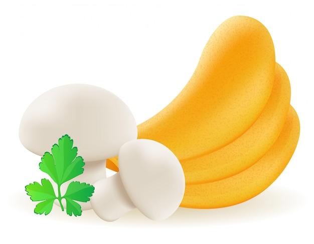 Kartoffelchips mit pilzvektorillustration
