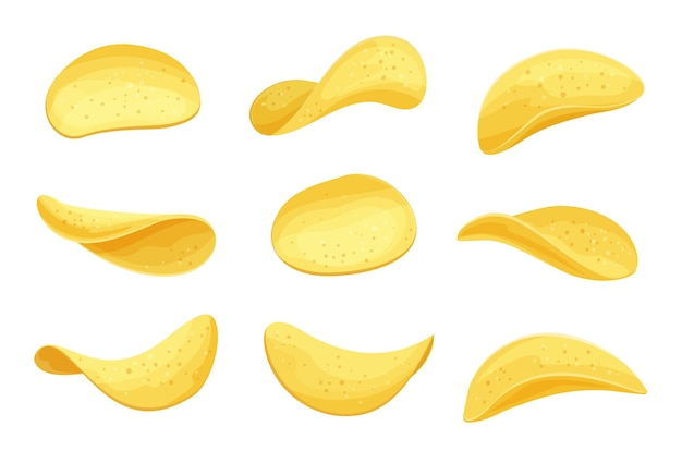 Kartoffelchips set illustration