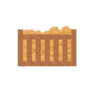 Kartoffeln in einer schachtel. flaches design. abbildung der box im korb. schubladenablage.