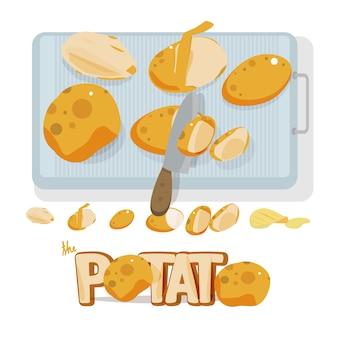 Kartoffelset mit messer und schneidebrett. briefgestaltung.