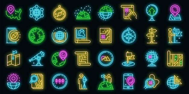 Kartograph-symbole gesetzt. umrisse von kartographen-vektorsymbolen neonfarbe auf schwarz