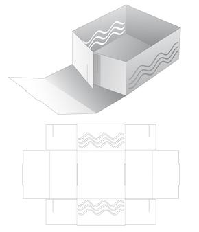 Karton-faltschale mit schablone mit wellenstanzung