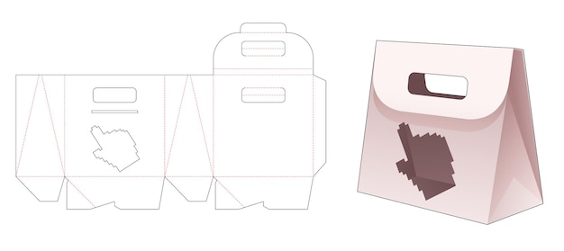 Karton-flip-tasche mit handcursorförmigem fenster in gestanzter vorlage im pixel-art-stil