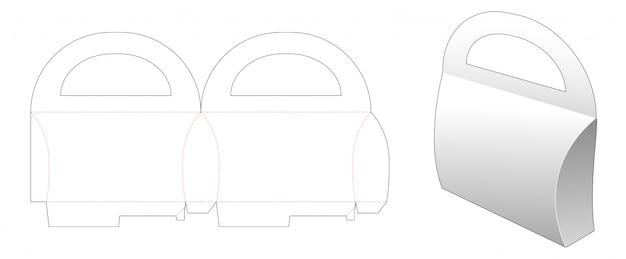 Karton griffe kissenverpackung gestanzte vorlage design
