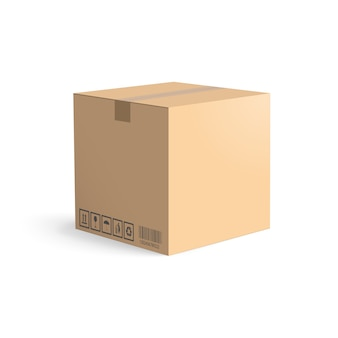 Karton lokalisiert auf weißem hintergrund. layoutboxen für die lieferung.