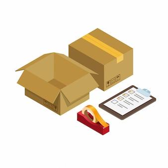 Karton mit checkliste pappe und rollenband, paketversand symbol isometrische illustration