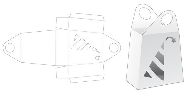 Karton mit griffbox mit schablone für partyhut, stanzschablone