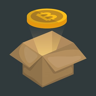 Karton mit virtuellen münzen