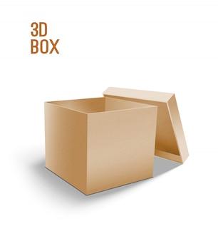 Karton öffnen. modell 3d des kastens.