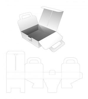 Karton pizza flip box mit griffen gestanzte vorlage