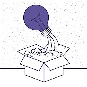 Karton und glühbirne