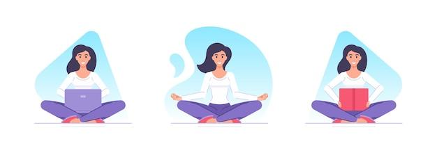 Karton weiblicher charakter, der yoga zu hause tut und satzillustration studiert