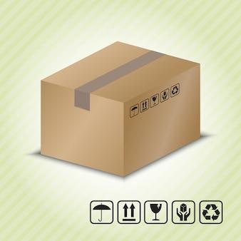 Kartonbehälter mit paket-handhabungssymbol.