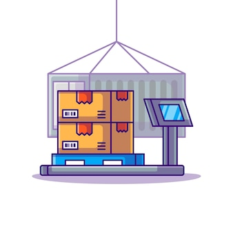Kartons auf lagerschuppen logistik cartoon illustration