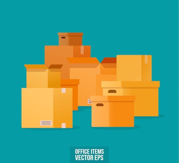 Kartons in verschiedenen formen zum bewegen.