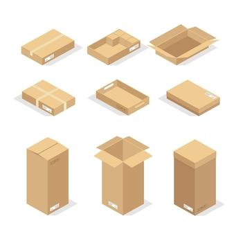Kartons oder packpapier und versandkarton kartonpakete und zustellpakete stapeln